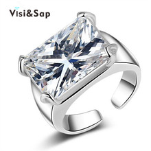 Euramerica Style BIG 5ct 18k Gold plated  Rings For Men jewelry AAA crystal CZ diamond Wedding gifts fashion Jewelry VSR205