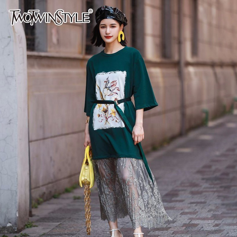 TWOTWINSTYLE Printed Flower T-shirt Dress Women Patchwork Pleated Lace Hem Midi Dresses Female Casual Clothes Korean 2018 Summer