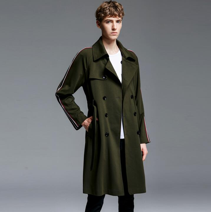 Medium-long   trench   coats men loose 2019 spring autumn fashion long-sleeve coat men outerwear khaki black army green plus size