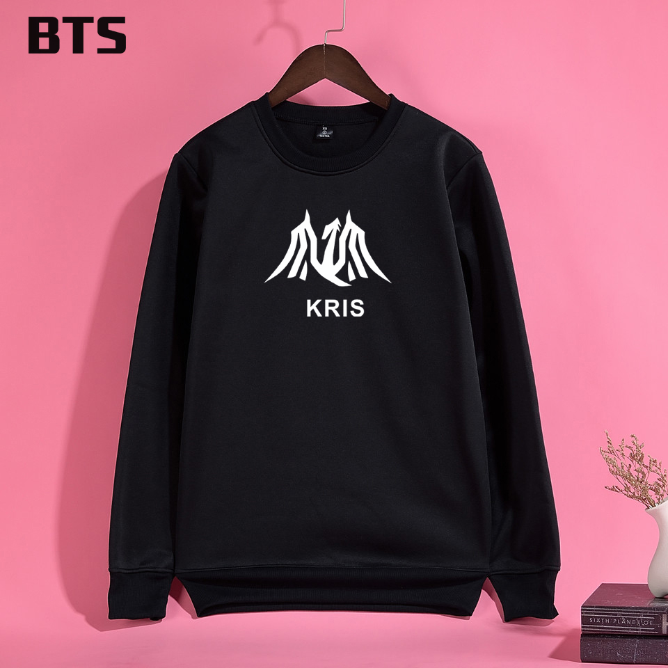 BTS EXO Kris Wu Korean Sweatshirt Women Comfortable Casual Female Loose Harajuku Printing Women Hoodies Sweatshirts Kawaii