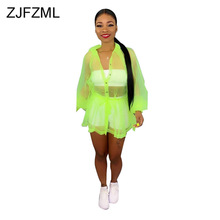 Neon Green Rose Mesh Transparent Coat 2019 Women Turn Down Collar Long Sleeve Beach Jacket Summer Buttons Up Sash Boho Outerwear