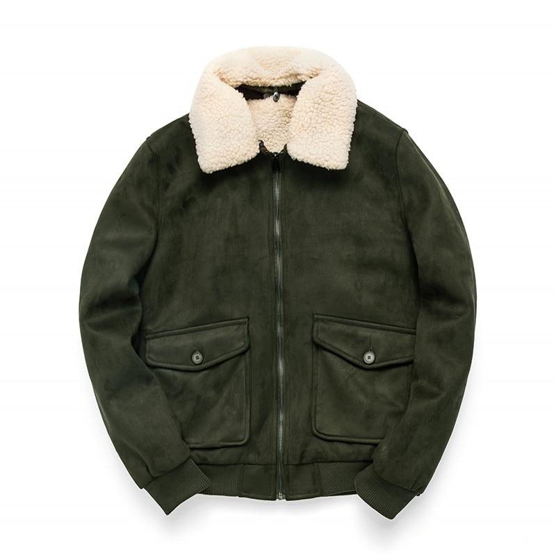 2019 New Winter Mens Fleece Coats Fashion Solid Detachable Collar Faux Suede Outerwear Male Slim Fit Pocket Zipper Coat M 3XL - 5