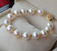 HUGE NATURAL 11 12MM ROUND SOUTH SEA GENUINE WHITE PEARL BRACELET 14K GOLD CLASP