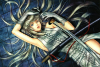 Home Decoration Red Thread Sheath Blue Eyes Art Hayabusa Yuuki Girl Katana Lacing Long Hair Silk