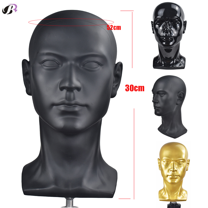 Male Mannequin Manikin Head Model Wig Training Styling Head Stand For Wig Hat Sunglasses Display Showing Shelf Gold Black Color