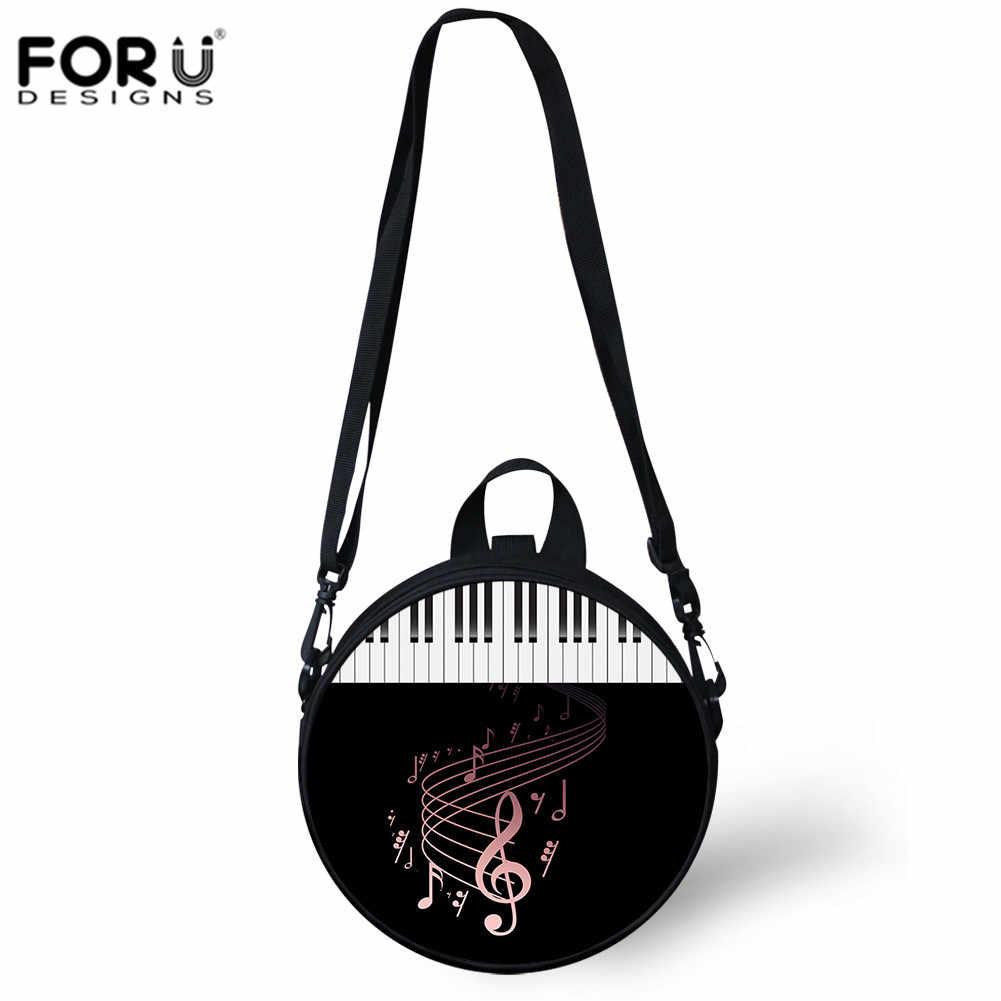 63e0f23c4a ... FORUDESIGNS Women Shoulder Bag DJ Music Notes Print Circle Bags Piano Pattern  Beach Holiday Bag Girl ...