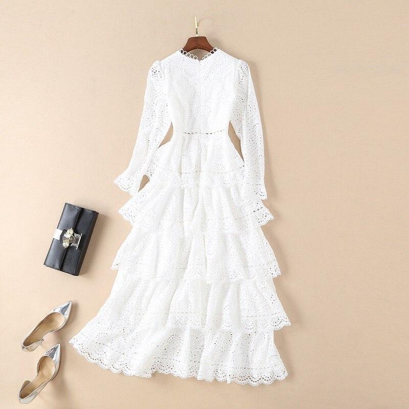 2018 Automne Princesse De la Mode Femmes Blanc robe de Bal Robe pour la Partie De Mariage Dames Sexy Col V Profond Évider Broderie Robe