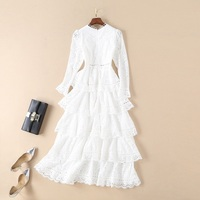 2018 Autumn Fashion Princess Women White Ball Gown Dress for Party Wedding Ladies Sexy Deep V Neck Hollow Out Embroidery Dress