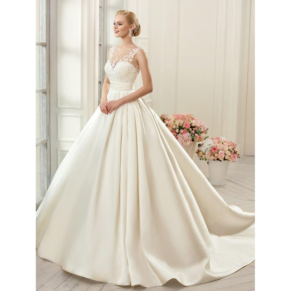Sexy Backless Wedding Dresses 2019 Ivory Satin Chapel Train Bridal Gowns vestido noiva princesa