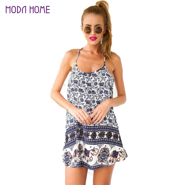 4a47b134ed 2019 Sexy Women Summer Dress Floral Elephant Print Beach Dress Spaghetti  Strap Sleeveless Swing Mini Dress Vestidos De Festa