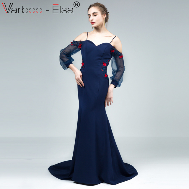 VARBOO_ELSA Sweetheart 3D Flower Long Party Gown Navy Blue Stretch ...