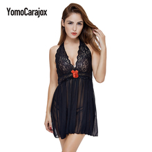Купить с кэшбэком Hot Sell Sexy Lingerie Hot Lace Hollow Baby Doll Floral Printed Erotic Lingerie Black Red Women Costumes Cotton Sexy Underwear
