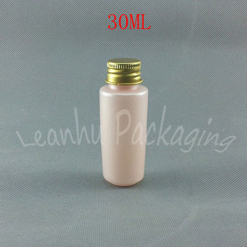 30ML Pink Plastic Bottle With Aluminum Cap , 30CC Lotion / Toner Mini Sample Packaging Bottle , Empty Cosmetic Container