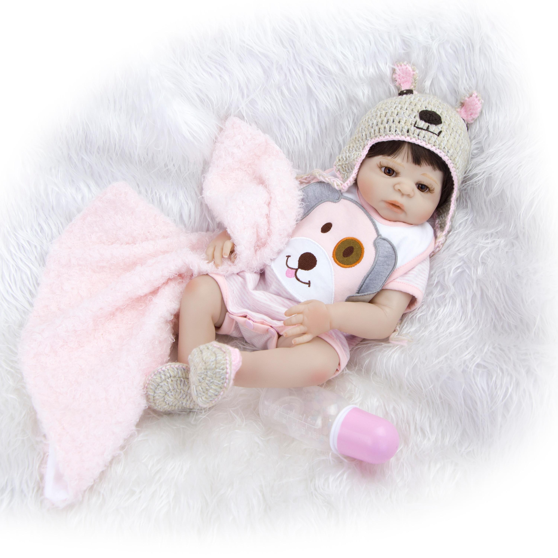 KEIUMI Fashion Babies Girl Reborn Dolls Full Silicone Body Lifelike Princess Bonecas Newborn Doll Kids Christmas