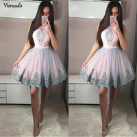 Pink Tulle Homecoming Dress Lace Prom Dresses Short Cocktail Party Dresses Silver Lace Applique Round Neck Sweet 16 Dresses