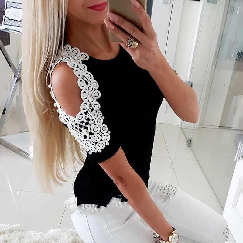 2018 Summer New Women Sexy Lace Beading Splice T-shirts Ladies Short Sleeve Off Shoulder Fashion Casual Tee Shirt Tops T-Shirt