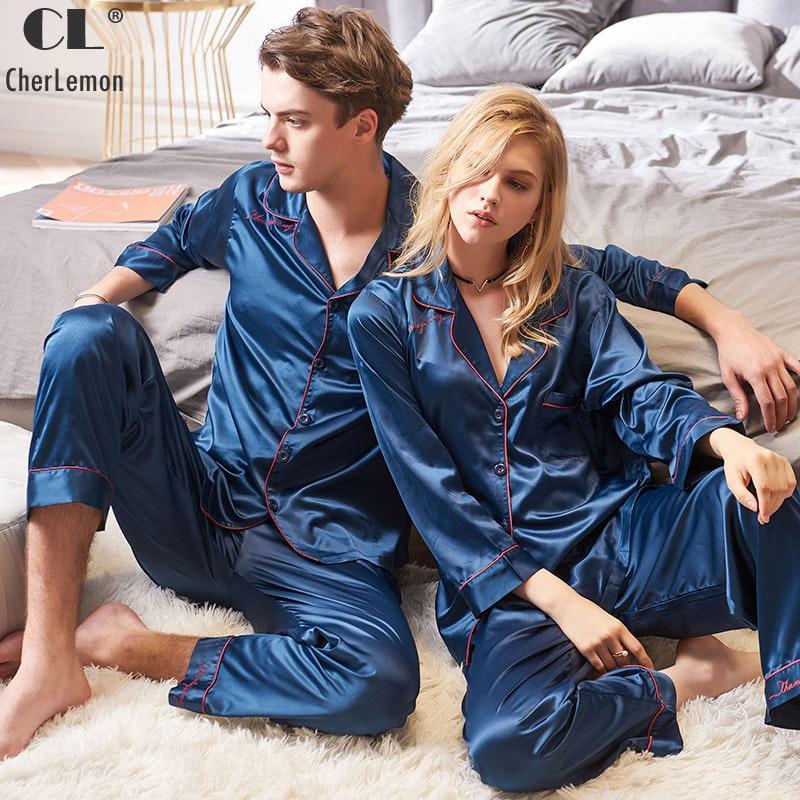 CherLemon Couple Premium Satin Solid Pajamas Autumn Women and Mens Long Sleeve Button Down Pijamas Soft Silk Sleepwear Dark Bule
