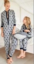 Casual Family Set Stars Print Pajamas Look Family Matching Outfits One Piece Mother Daughter Sleepwear Clothes Family Pajamas