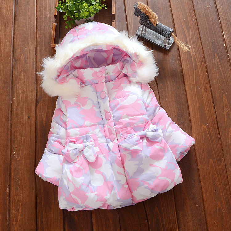 Toddler Girls Winter Jacket Faux Fur Flower Print Hooded Warm Baby Girls Coat Outerwear XW