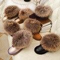 Corto invierno 100% Natural Larg nieve de piel de zorro botas de piel de vaca de piel de mapache cuero genuino plana botas de algodón acolchado zapatos