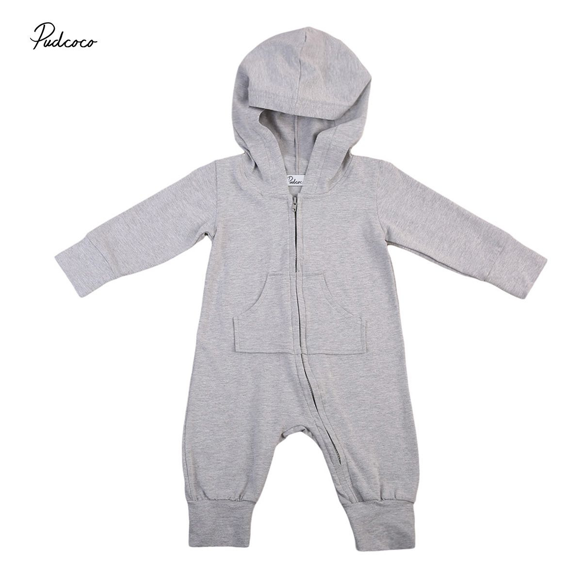 Cartoon Toddler Newborn Baby Boys Girls Romper Long Sleeve Gray Hooded Jumpsuit Zipper Outfits Clothes