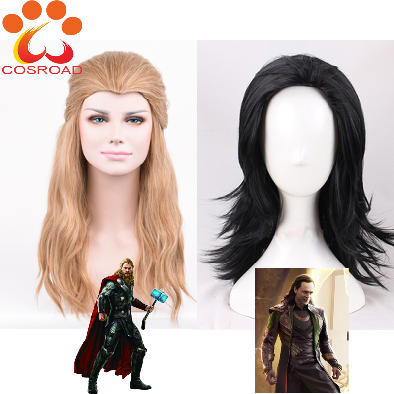 Cosroad The Avengers Thor Cosplay Wig Loki Long black Hair Costumes Adult Halloween Party Plays Wigs-in Movie & TV costumes from Novelty & Special Use