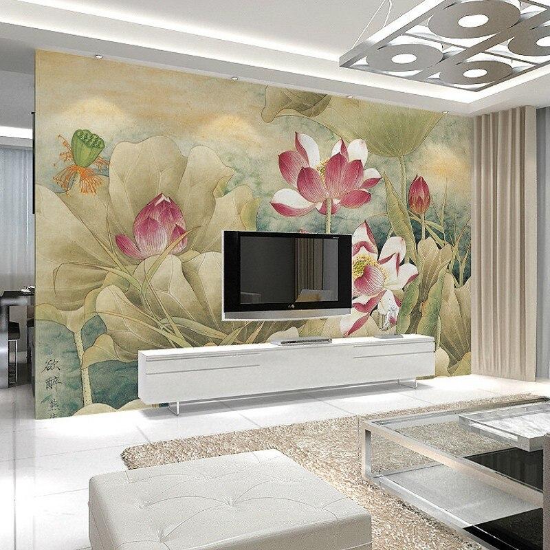 beibehang Custom Ink Chinese seamless large mural den sofa ls