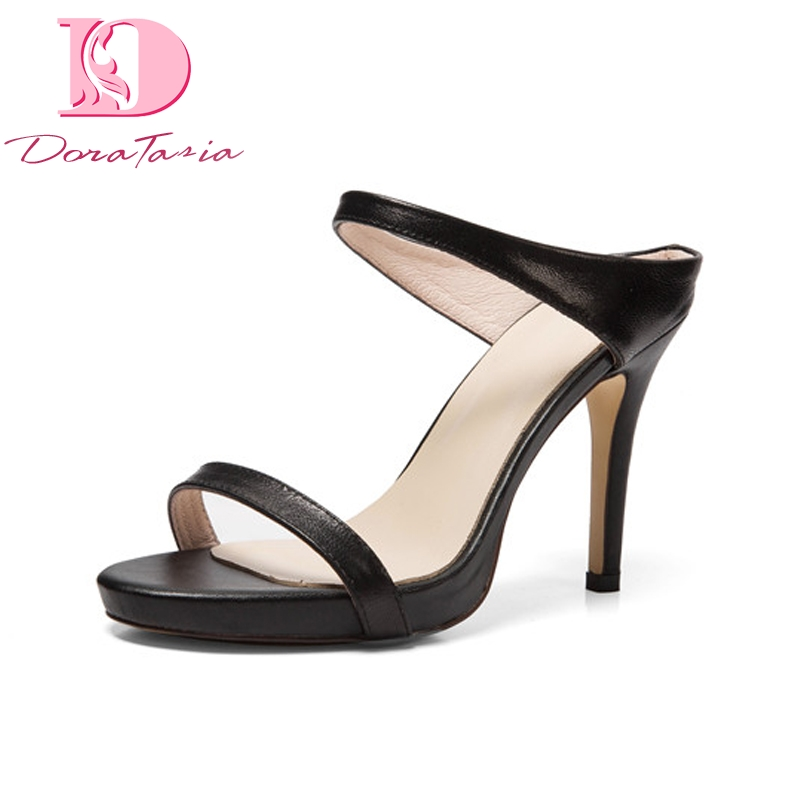 Doratasia New good quality brand  Genuine Leather Thin High Heels Platform Shoes Woman Casual Summer mules Pumps