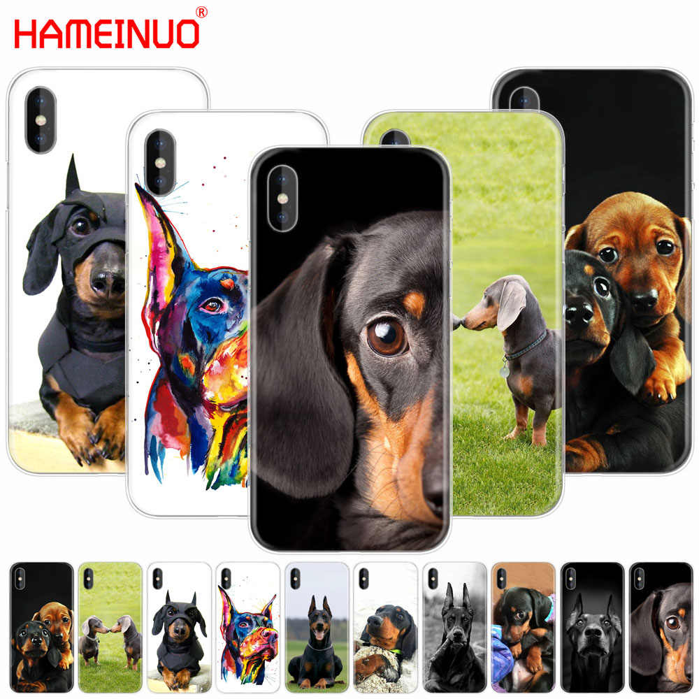 HAMEINUO Cute Dachshund Doberman Dog cell phone Cover case for iphone X 8 7 6 4 4s 5 5s SE 5c 6s plus