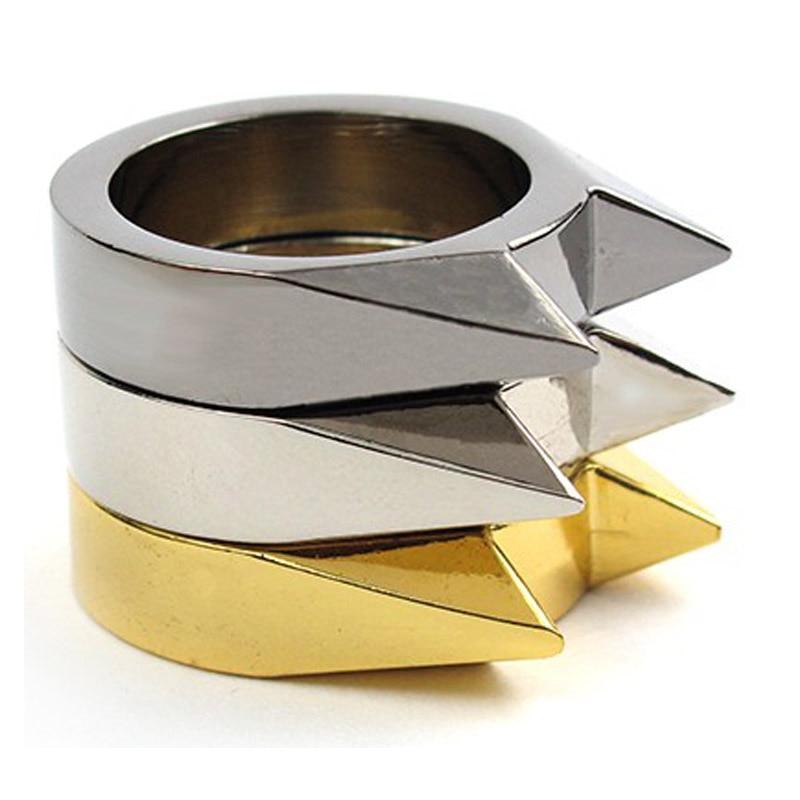 30pcs/lot Self Defense Finger Ring Safety Survival Emergency Defence Stainless Steel Silver Black Golden