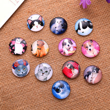 50Pcs Round Mixed Cats Dogs Pattern Glass Dome Seals Cameos Cabochons Embellishments Scrapbook Findings 14mm
