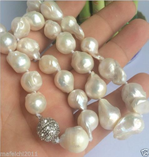 Free shipping NEW 10-16mm SOUTH SEA WHITE BAROQUE PEARL NECKLACE 18 Free shipping NEW 10-16mm SOUTH SEA WHITE BAROQUE PEARL NECKLACE 18