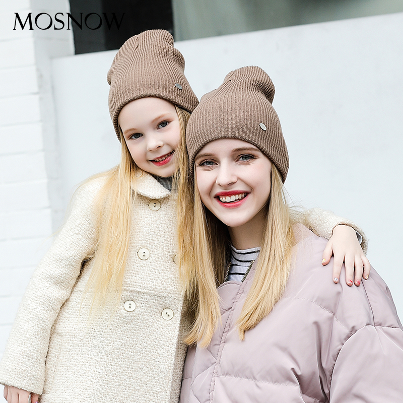 MOSNOW Winter Hats For Women Caps Children Mother And Child New Fashion Warm 2017 Winter Knitted Womens Skullies Bonnet #MZ832E