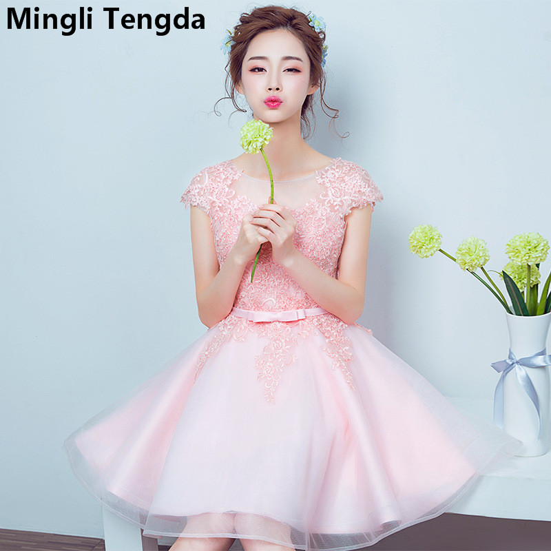 Mingli Tengda 2018 New Pink/Champagne Appliques Lace   Bridesmaid     Dresses   Elegant   Dress   Women for Wedding Party vestido madrinha