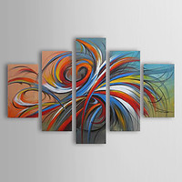 Oil Paintings Set of 5 Modern Abstract Colorful Circles Hand painted Canvas Wall Art with Framed Ready to Hang