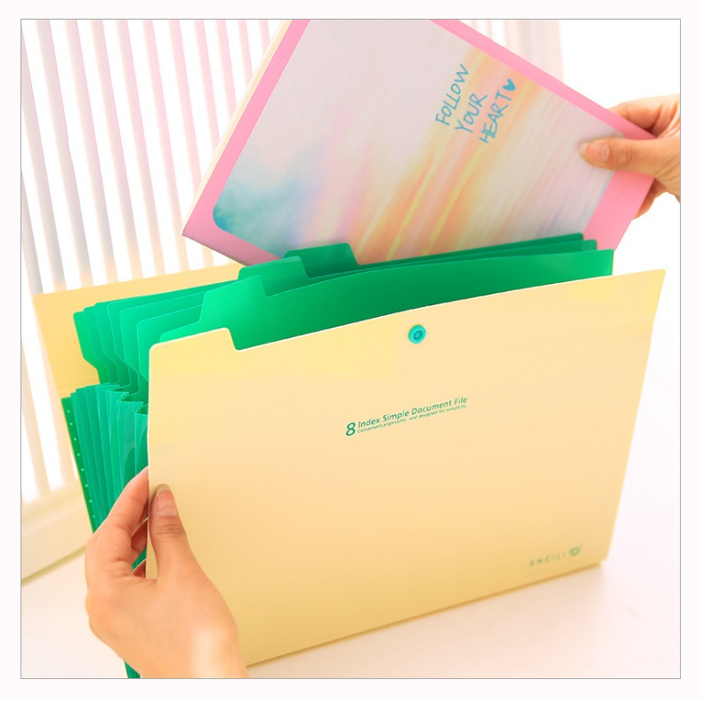 Simple Fresh Filing Production Folder Multi-Function 8 Into Mezzanine File A4 Document File Folder School Office Expanding Case