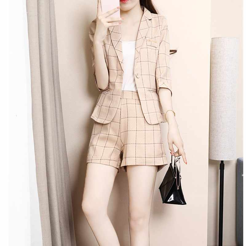 Suit jacket + shorts 2019 spring and autumn new overalls suit plaid professional wear fashion temperament Slim 2 piece set