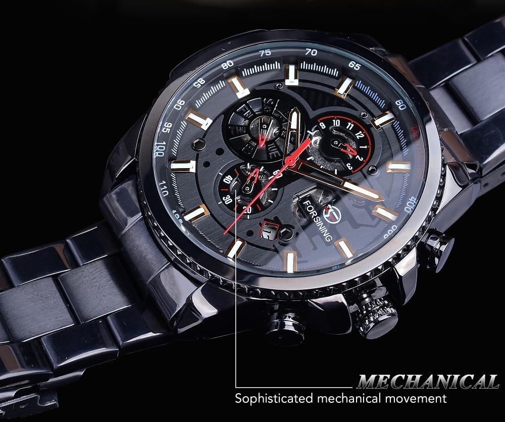 Forsining 2019 Classic Black Clock Steampunk Series Complete Calendar Men's Sport Mechanical Automatic Watches Top Brand Luxury