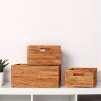 Weaving Rattan Office Document Storage Basket Handwork File Tray Storage Boxes Food Fruit Vegetables Organization Kitchen Shelf|Bags & Baskets| |  -