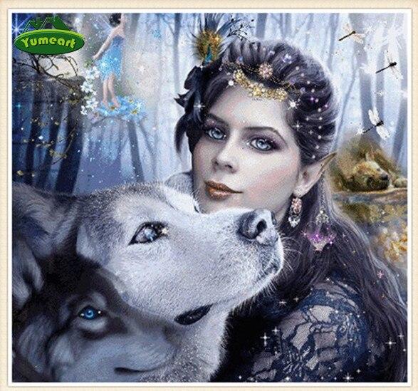 5d Diy Diamante Pintura Retrato Mujeres Y Lobo Contados Cruz Puntada