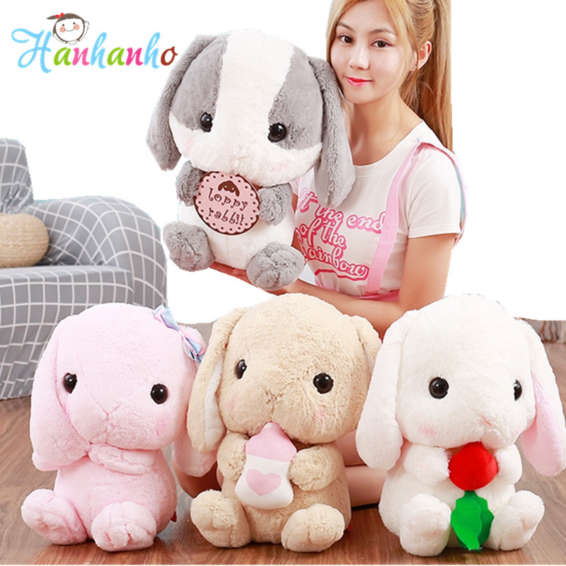 Kawaii Soft Rabbits Dolls Stuffed Big Eyes Animals Long Ears Loppy Bunny Rabbit Plush Toys for Girls Birthday Gifts le sucre wearing dress 30cm kawaii rabbit plush toys bunny stuffed dolls kids toys gifts clothes can be take off