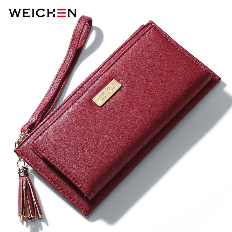 91a04e01357a WEICHEN браслет кисточкой для женщин женские кошельки Много отделов длинные  дамы кошелек держатель для карт карман
