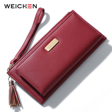 WEICHEN Wristband Tassel Women Wallets Many Departments Long Ladies Purse Card Holder Cell Phone Pocket Brand Female Wallets NEW недорого