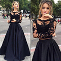 Two Piece Prom Dresses Black Lace Seperate Crop Top Illusion Long Sleeve Graduation Homecoming Dresses Factory Real Photo