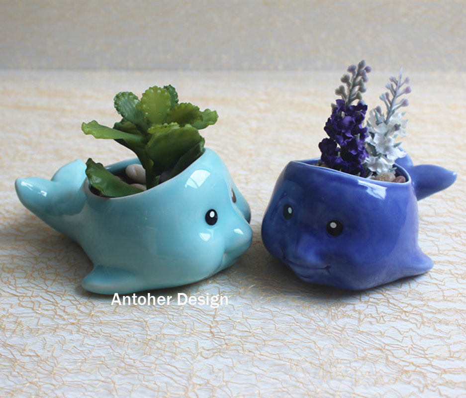 buy 1pc cute fish flower pots planters home decoration ceramic pots maceta. Black Bedroom Furniture Sets. Home Design Ideas