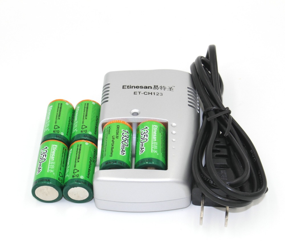 Super 6pcs Etinesan 1350mAh 3v CR123A rechargeable LiFePO4 battery lithium battery with charger