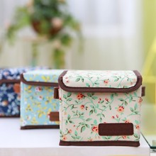 Free shipping BF050 Fashion Fresh floral rose style small storage box foldable canvas 12*12*12cm