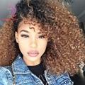8A Cheap Brazilian Virgin Hair Kinky Curly 4 Bundles Blonde Ombre Human Hair Weaves 1B/30 Brazilian Nature Curly Hair Bundles TO
