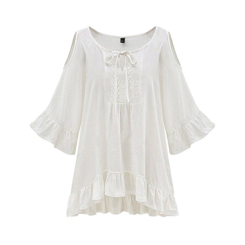 Off-shoulder 3/4 Flare Sleeve   Blouse     Shirts   O Neck Casual Slim   Shirts   Women's Clothing Large Size   Blouses