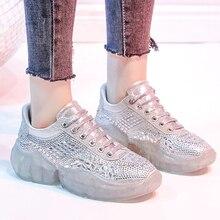 Moxxy Glitter Crystal Sneakers Women Shoes White Platform Sneaker  Rhinestone Leather Women Sneakers zapatillas mujer casual f1233104d398